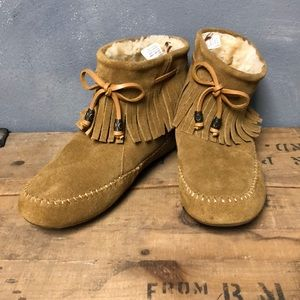 Lucky Brand Leather Moccasin 7 Ankle Boot Fleece